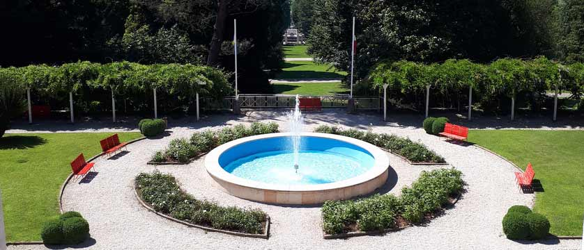 Grand Hotel Imperial, Lake Levico, Italy - fountain and park view.jpg
